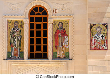 Mosaic Icons of Greek Orthodox Church - Mosaic icons on the...