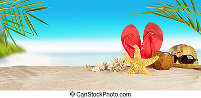 Tropical beach with accessories on sand, summer holiday...