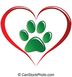 Love animals - Illustration paws and hearts as a symbol of...
