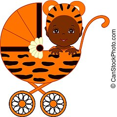 Vector African American Cute Baby in  Tiger Costume  Sitting in the Stroller.