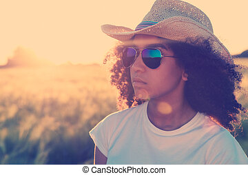 Mixed Race African American Woman Sunglasses Cowboy Hat Sunset