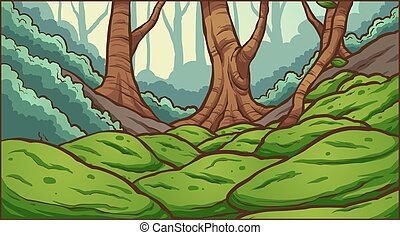Forest background - Forest with mossy rocks background....