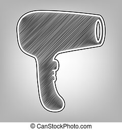 Hair Dryer sign. Vector. Pencil sketch imitation. Dark gray scribble icon with dark gray outer contour at gray background.