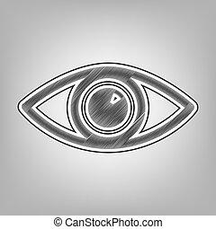 Eye sign illustration. Vector. Pencil sketch imitation. Dark...