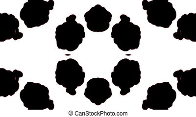 Abstract black and white background of ink or smoke flows is kaleidoscope or Rorschach inkblot test15 in slow motion. Black Ink fall in water. For alpha channel use luma matte as alpha mask