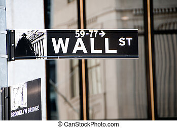 Wall Street sign in Lower Manhattan, New York City.
