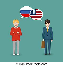 Two people with white speech bubbles with Russia and USA...