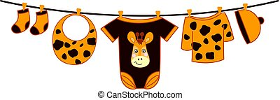 Vector Baby Clothes. Baby Shower Vector Illustration.
