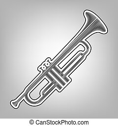 Musical instrument Trumpet sign. Vector. Pencil sketch...