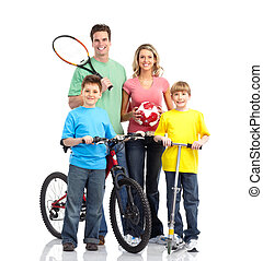 Happy sportive family. Father, mother and boy. Over white...