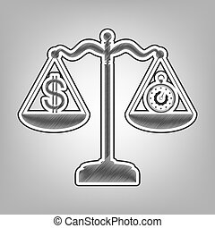 Stopwatch and dollar symbol on scales. Vector. Pencil sketch imitation. Dark gray scribble icon with dark gray outer contour at gray background.