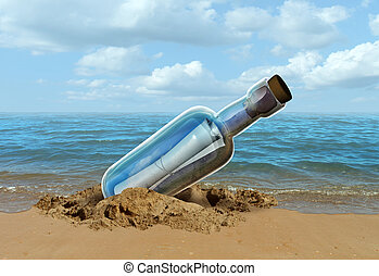 Message In A Bottle - Message in a bottle concept as a note...
