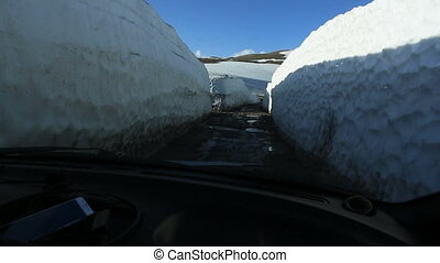 Travel by car on broken roads from Batumi to Borjomi. Road...