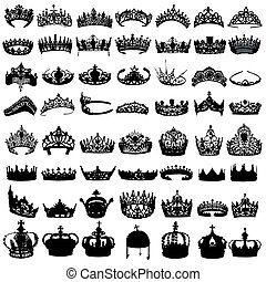 Set of crowns on white background