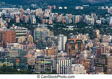 Skyline of Santiago de Chile - View of buildings at...