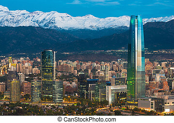 Skyline of Santiago de Chile at the foots of The Andes...