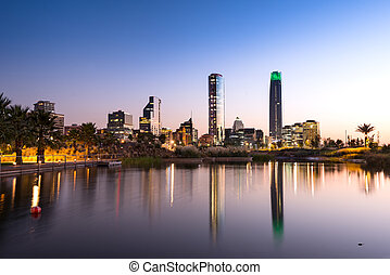 Santiago Chile - Pond at Bicentennial Park in the wealthy...