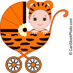 Vector Cute Baby in Tiger Costume  Sitting in the Stroller.