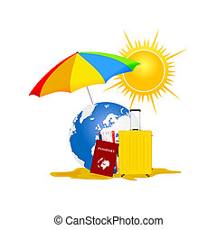 travel symbol for background with passport and bag
