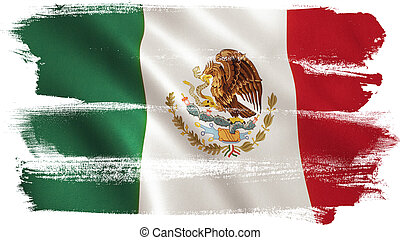 Mexico Flag - Mexico flag background with fabric texture. 3D...