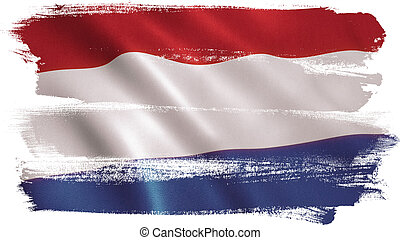 Holland Flag - Holland flag background with fabric texture.