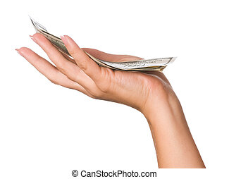 Hand with dollars - Hand holding money dollars isolated on...