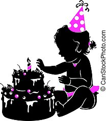 Silhouette cute baby girl with birthday cake with candle