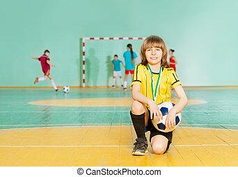 posición, futbol, equipo,  futsal, rodilla, capitán