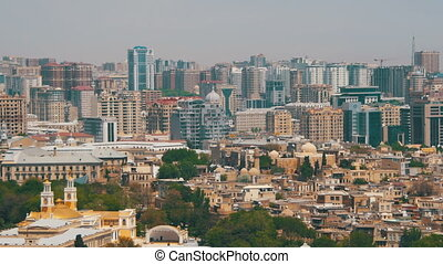 Landscape view of Skyscrapers and High-Rise Buildings in the City of Baku, Azerbaijan
