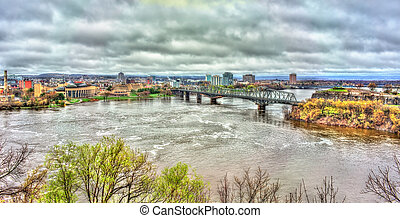 The Ottawa River and Alexandra Bridge in Ottawa, Canada -...