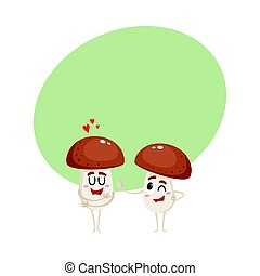 Two mushroom characters, one showing love, another giving thumb up