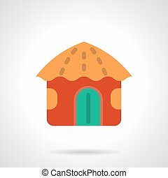 Red beach hut flat color vector icon - Symbol of bright red...
