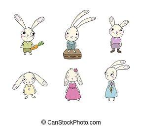 Set of cute cartoon bunny.