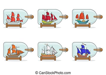Set of color ships with sails in glasses. Souvenirs with sailboat isolated on white background for trip, tourism, travel agency, hotels.