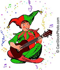 Jester - A boy in a jester costume playing guitar
