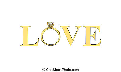 3D illustration isolated gold text word love with diamond...