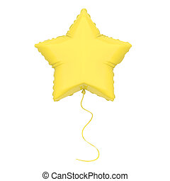 3D illustration isolated yellow air balloon star on a white...
