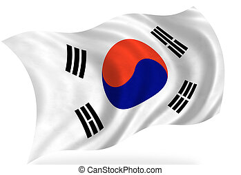 korea-south - korea south flag, isolated