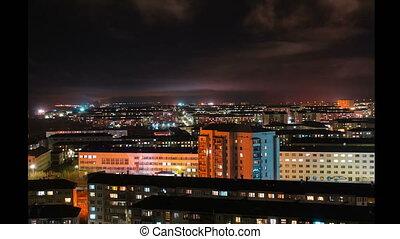 night Vorkuta. Russia. timelaps