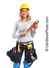 builder woman - Young builder woman with wrench. Isolated...