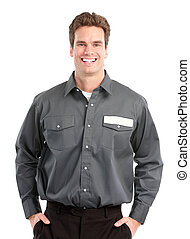 worker. - Young handsome worker. Isolated over white...