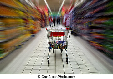 Supermarket cart blured motion