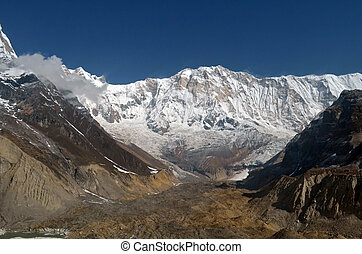 Snowy Mountain Landscape in Himalaya. View from Annapurna Base Camp Track.