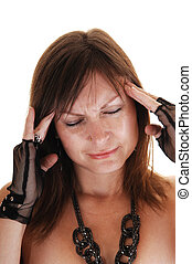 Girl has big headache - A middle aged woman holding her...