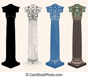 Ancient Corinthian Column Vec...