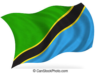 Tanzania flag, isolated