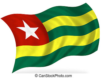 Togo flag, isolated