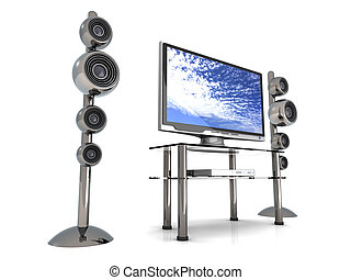 Home Entertainment System	 - 3D rendered Illustration.