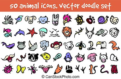 vector doodle icons set - Vector doodle animal icons set....