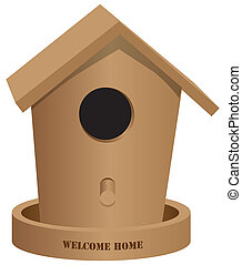 Wooden bird house Welcome home - Wooden bird house with text...